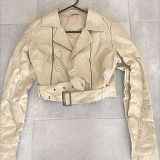 Leather Cream Crop Jacket