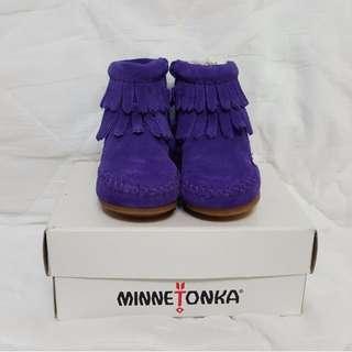 美國正品【MINNETONKA】 雙層流蘇麂皮紫色短靴 嬰童鞋適合10CM腳的BABY
