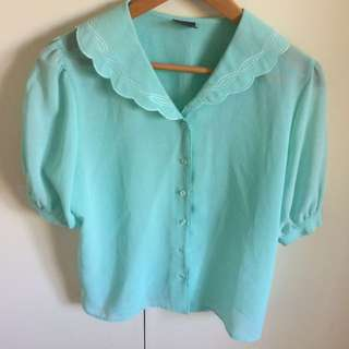 Blue Vintage Collar Shirt