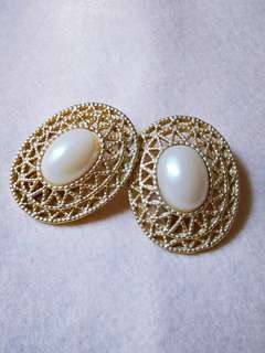 Oval White Stone Clip Earring