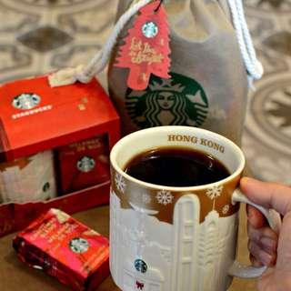 香港🇭🇰星巴克香港HONG KONG耶誕金浮雕城市杯城市馬克杯 Starbucks