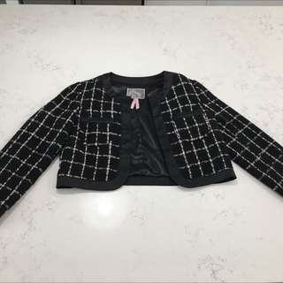 Black And Cream Patterned Chanel Style Jacket