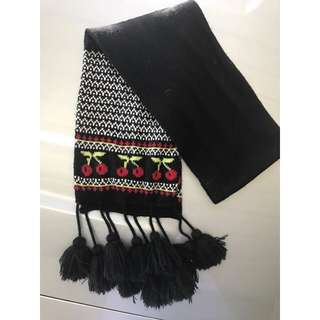 Cherry Scarf With Tassels