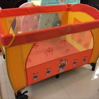 Portable Foldable Baby Playpen Cot Play Yard Orange