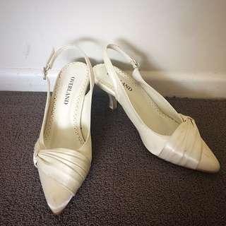 Satin White/cream Heel