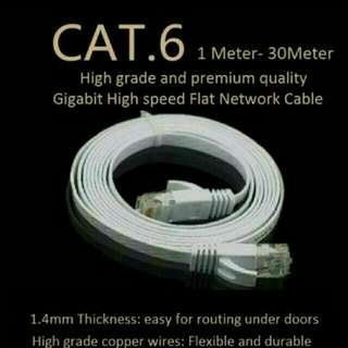 1M/2M/5M/10M/15/20M/30M White Flat Cat6 Gigabit UTP LAN Network Cable For Modem / Router / LAN / Printer / MAC / Laptop [100% brand new and high quality]