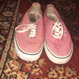 Womans Dusty Red Vans Size 9.5