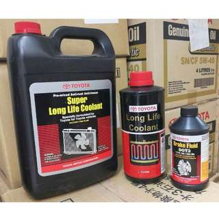 100% Original Toyota Coolant and Brake oil