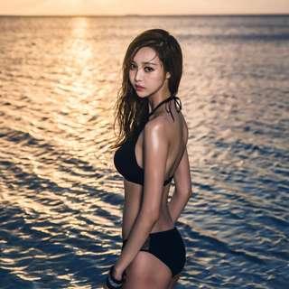 韓國bikini黑色網紗顯瘦性感比基尼泳衣女