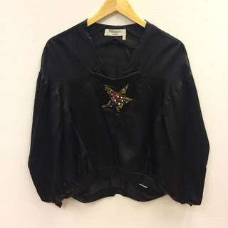 YSL black silk with crystal star top size 36