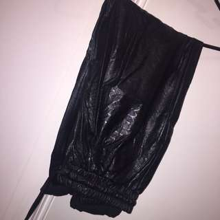 Black Leather Patterned Trousers