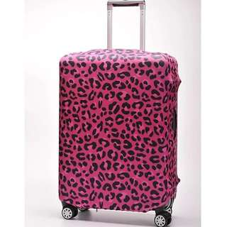 PO Fuchsia Leopard Print Stretchable Luggage Casing