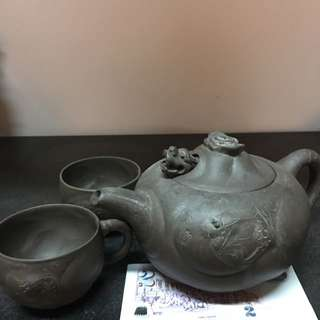 Vintage Zhisha Teapot With Cups