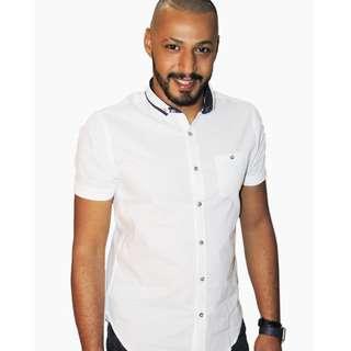 Mens Dot Collar Slim Fit Shirt WHITE