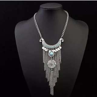Women's Boho Turquoise Long Tassels Pendant Necklace