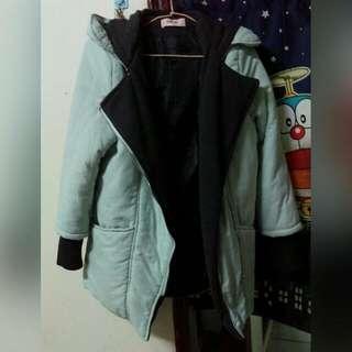 #免購物直接送 ❤假兩件 綠色厚鋪棉保暖外套