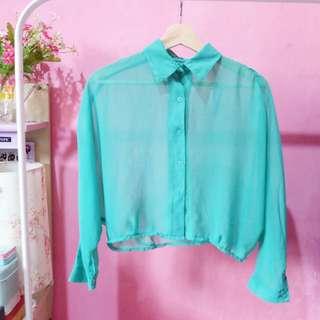 Green Transparant Crop Shirt