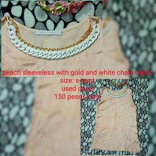 Peach Sleeveless With White And Gold Chain