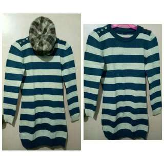 Pre-loved Long Sleeve Striped Green Dress with matching brown striped hat