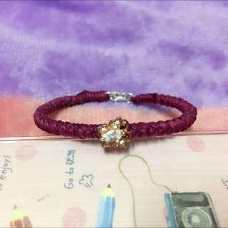 純銀蠶絲蠟線手環-玫瑰金蝴蝶水晶鋯石