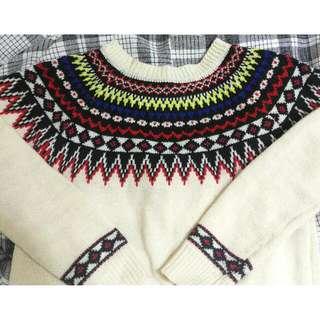 古著 毛衣 針織 民俗風 民族風 幾何 米色