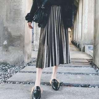 歐美感超優質感絲絨百摺裙 長裙