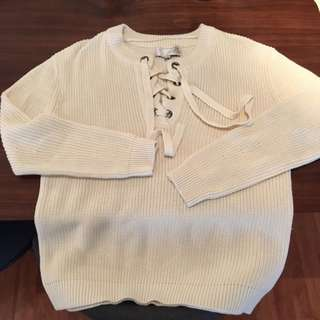 J.O.A. Lace Up Sweater Size Large