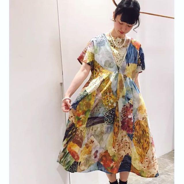 預購原單日系品牌潑墨渲染油畫洋裝