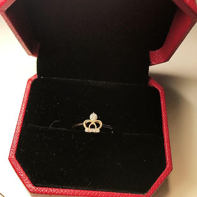 二手碎鑽真鑽皇冠戒指