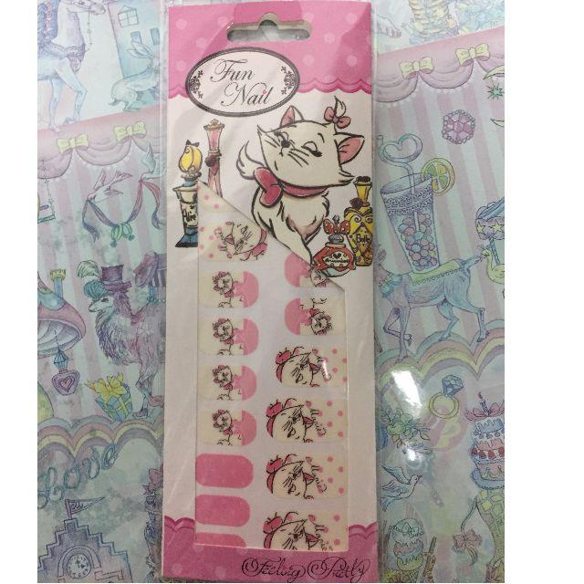 【日本東京迪士尼 瑪麗貓粉色指甲貼】美甲貼