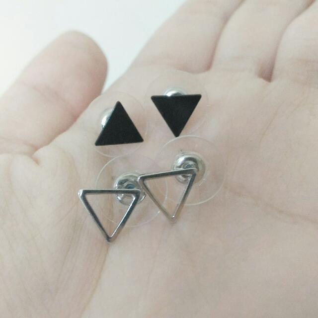 三角 耳環 三角形 黑 銀 幾何 摟空
