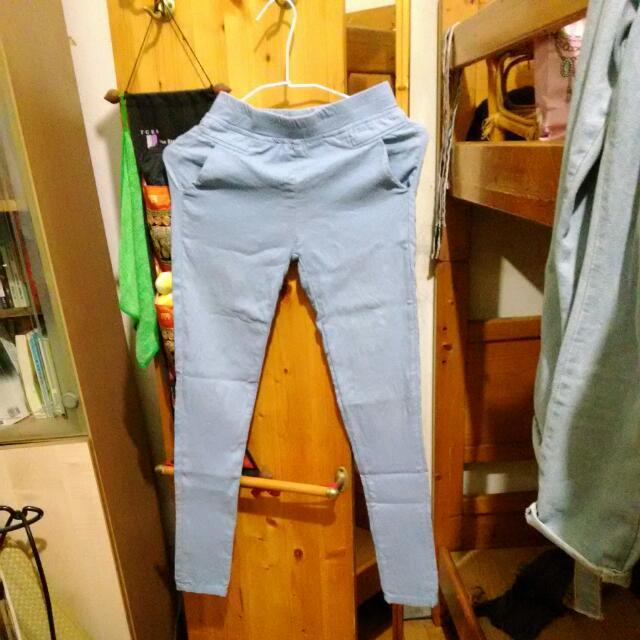 鉛筆褲 彈力褲 內搭褲S號 粉藍