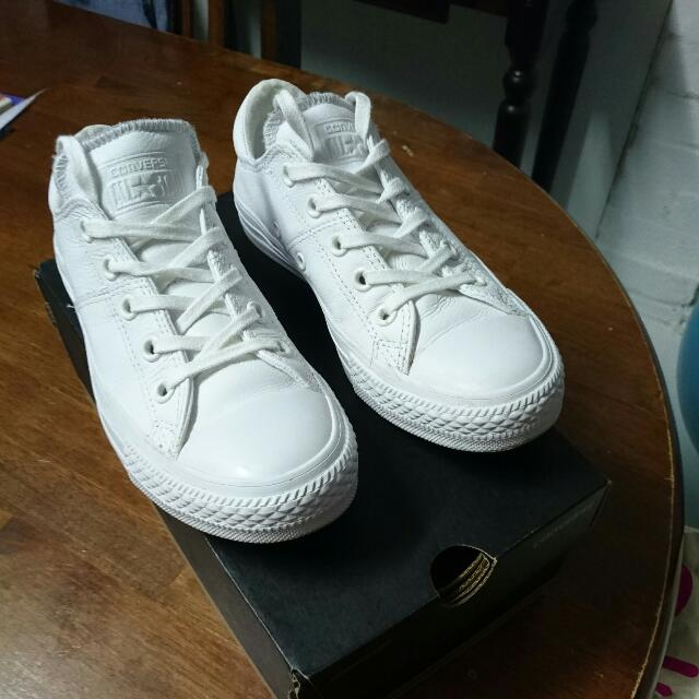 All White Leather Converse Size 6