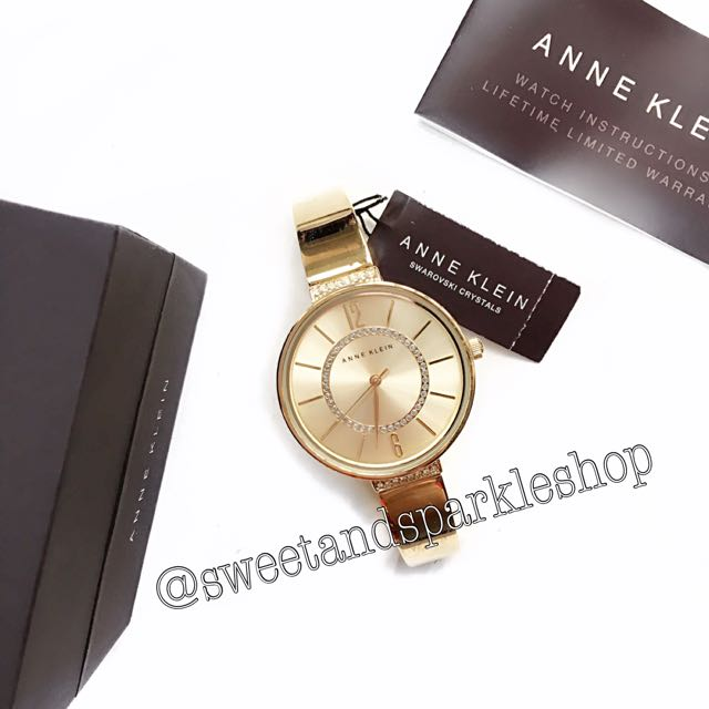Anne Klein Swarovski Crystal Gold Watch