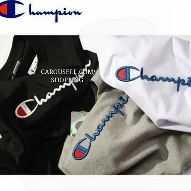 authentic embroidered champion t shirt champion tee. Black Bedroom Furniture Sets. Home Design Ideas