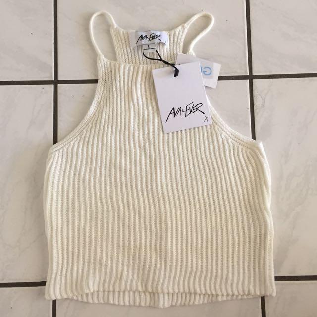 Ava & Ever Cream Landslide Knit crop top