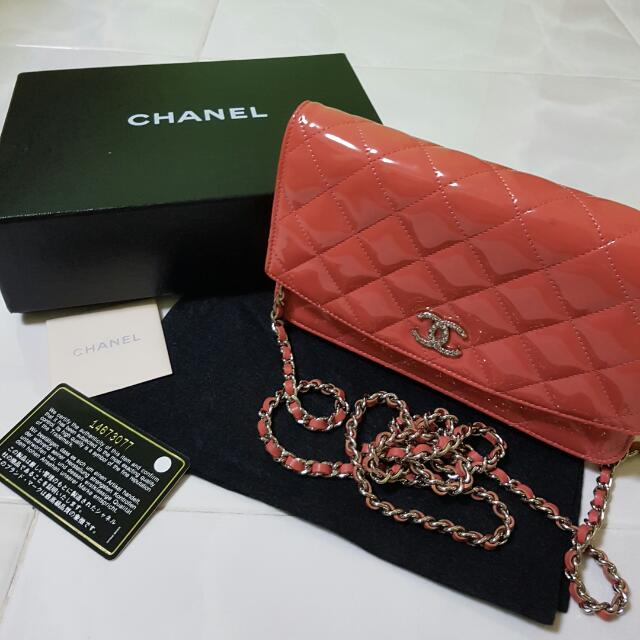 5b956a5b7678 CHANEL Patent Quilted Brilliant Wallet On Chain WOC Pink, Luxury, Bags &  Wallets on Carousell