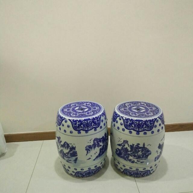 Chinese Pottery Stool X 2
