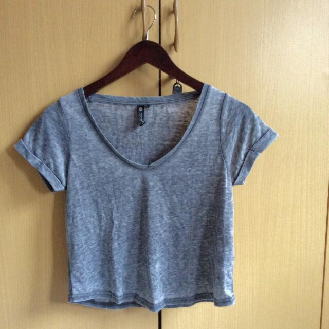 Cotton On Grey Crop Shirt