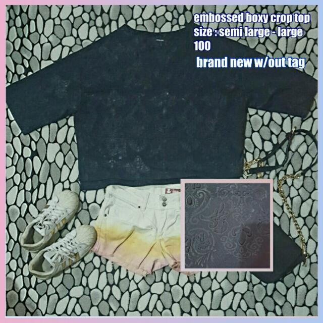 Embossed Boxy Crop Top