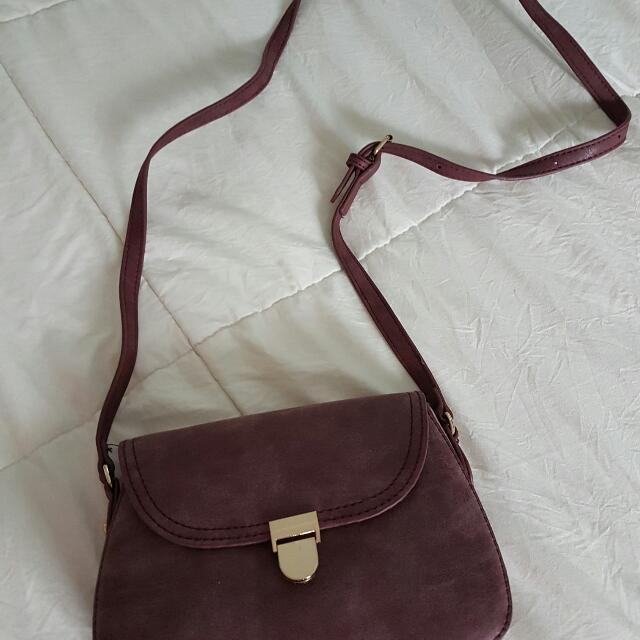 Faux Suede Purple Sling / Shoulder Bag