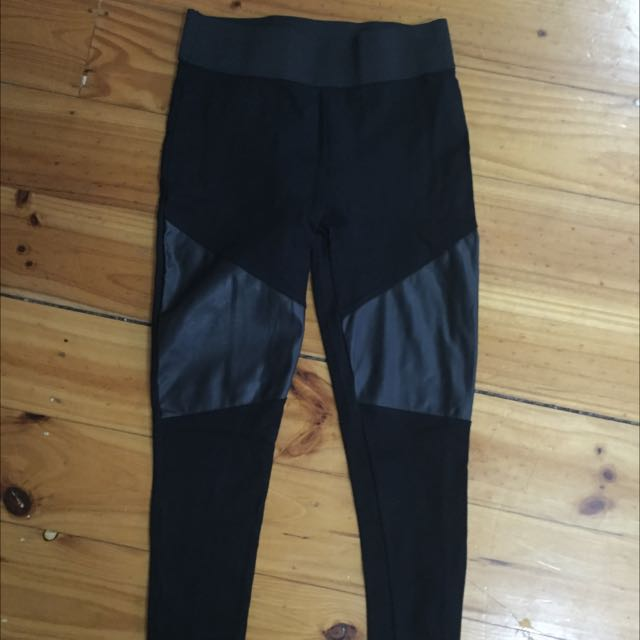 Glassons Long Leggings With Pu Leather