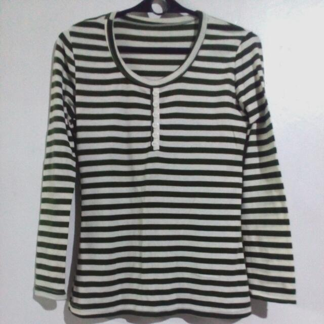 Green And White Stripes Pullover