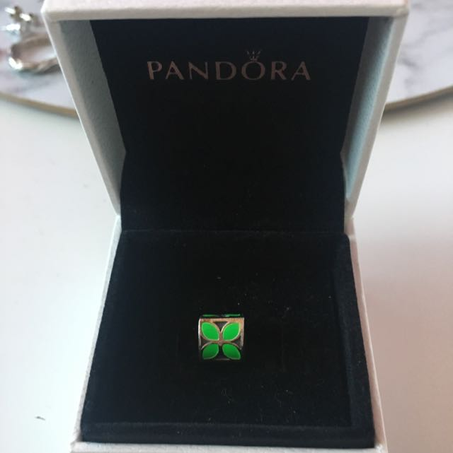 Green flower pandora charm