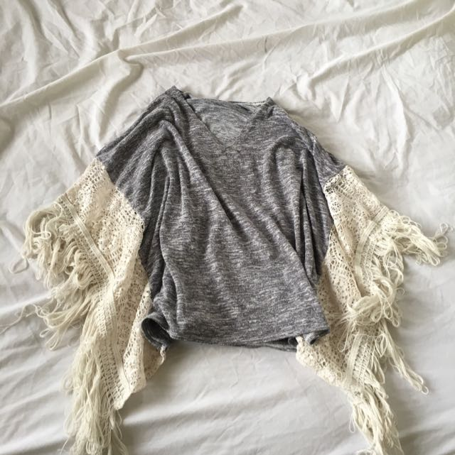 Grey Tassle Top