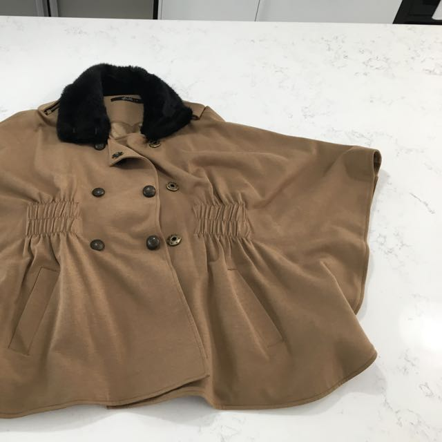 Khaki Cape With Fur Neck Size Small