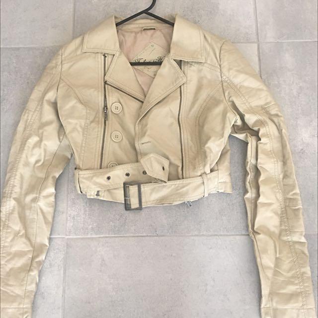 Leather Cream Crop Jacket