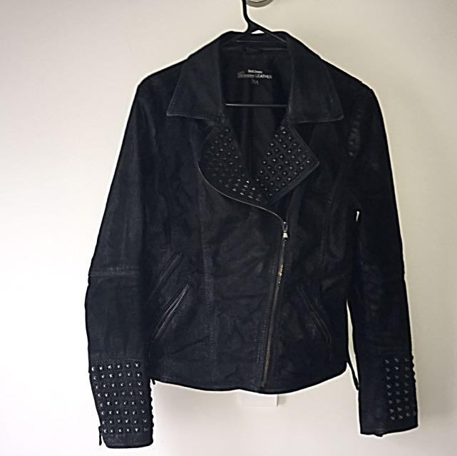 Leather Jacket With Stud detail