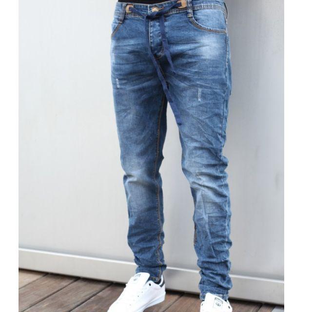 Men's Slim Fit Ruched Denim Jeans