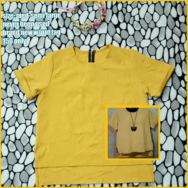 Mustard Yellow Blouse With Back Zipper